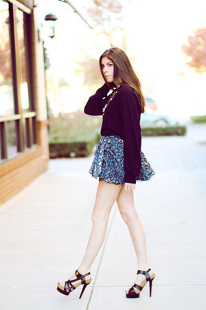 navy aryn k skirt - black balenciaga shoes - black christian dior sweater - Fore