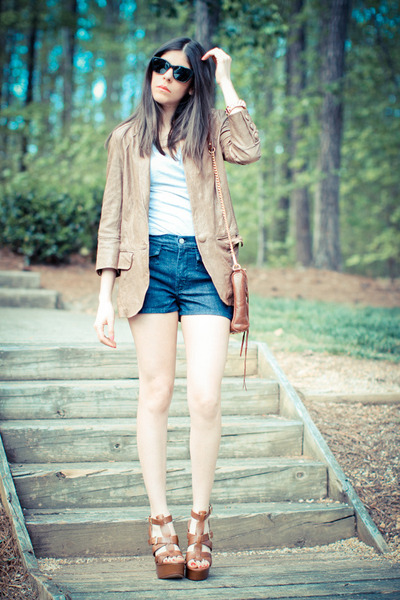 leather Burning Torch jacket - Rebecca Minkoff bag - imitation of christ shorts
