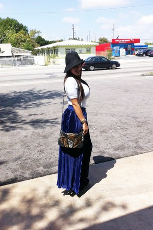 Forever 21 hat - Aldo bag - American Apparel bodysuit - pleated sheer American A