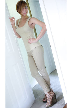 beige Zara pants - beige Forever21 shirt - beige Jeffrey Campbell shoes