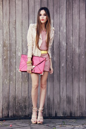 crimson asos bag - light pink leather Morena Raiz dress