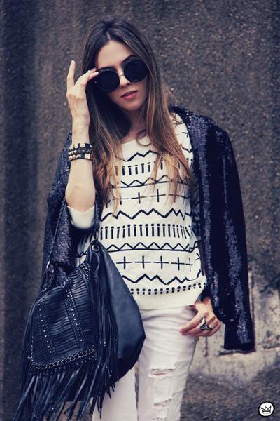 white romwe jeans - white ethnic awwdore jumper