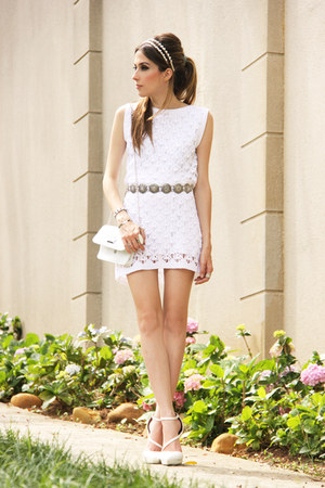 white Juliana Silveira dress - white asos heels