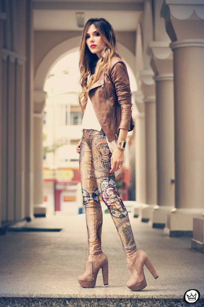 brown Boda Skins jacket - light brown Labellamafia leggings - eggshell romwe top