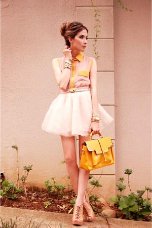 awwdore shirt - romwe bag - MINUSEY skirt - Kaf Acessrios bracelet