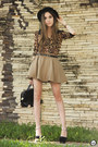 Black-asos-heels-dark-brown-leopard-print-romwe-shirt-tan-sheinside-skirt