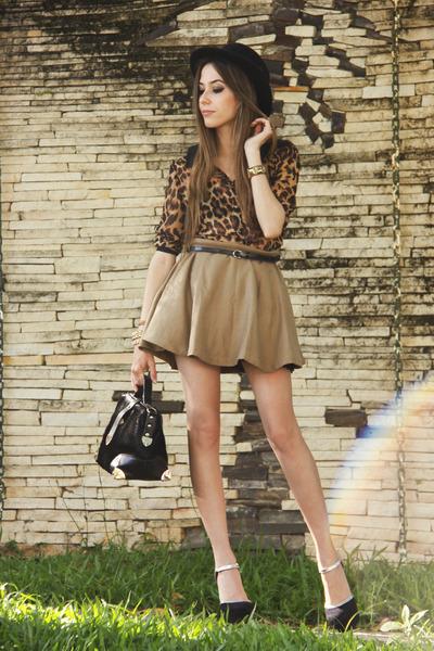 black asos heels - dark brown leopard print romwe shirt - tan Sheinside skirt