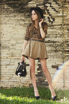 black asos heels - dark brown leopard print romwe shirt - tan Sheinside skirt