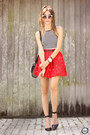 Red-asbydf-skirt-white-her-fashion-box-top