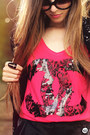 Black-romwe-bag-hot-pink-aluska-t-shirt-black-kafé-bracelet