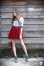 Ruby-red-chicwish-skirt-gold-gabriela-faraco-necklace