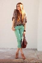 brown silk Brech da Neide shirt - aquamarine jeans Espao 1098 pants