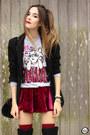 Black-dafiti-bag-maroon-chicwish-skirt-off-white-ohkei-jumper