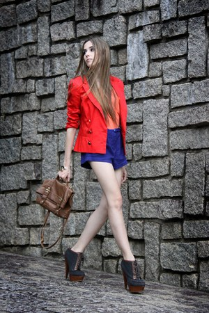 red Espao 1098 blazer - brown asoscom shoes - navy Espao 1098 shorts