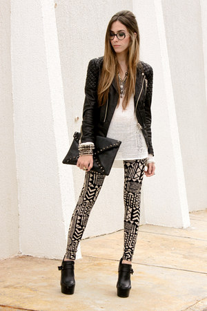 black Akira leggings - black MINUSEY jacket - white Akira jumper