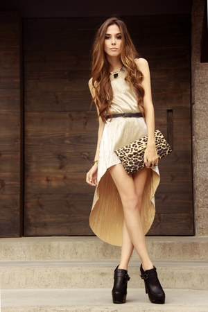 black asos shoes - cream gold Ville Rose dress