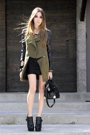 black romwe bag - dark green romwe coat