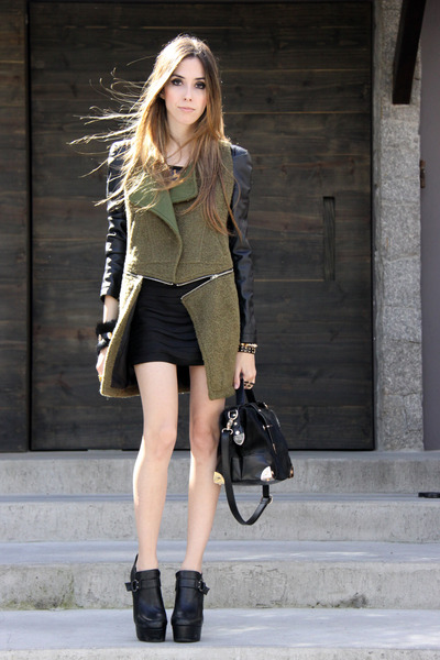 dark green romwe coat - black romwe bag