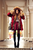 crimson Chicwish coat - crimson romwe skirt