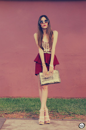 maroon GoodNight Macaroon skirt - gold romwe bag
