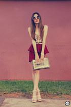 maroon GoodNight Macaroon skirt - gold romwe bag