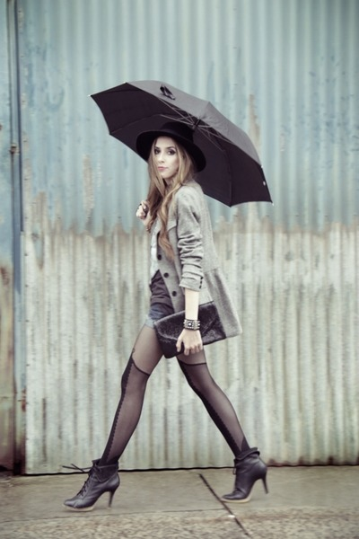 black romwe tights - heather gray Brech da Neide blazer
