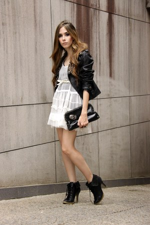 black leather jacket Ellus jacket - white Espao 1098 dress