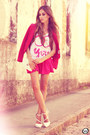Hot-pink-romwe-skirt-white-aluska-t-shirt-white-asos-heels