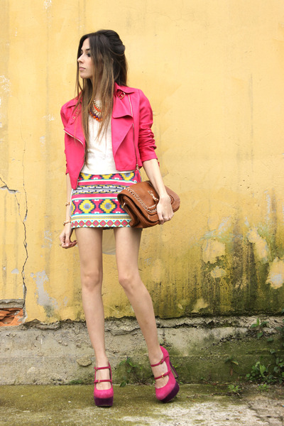 yellow Ville Rose skirt - hot pink Ville Rose jacket