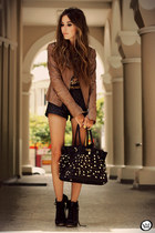 brown Boda Skins jacket - black Timeless bag - black romwe shorts
