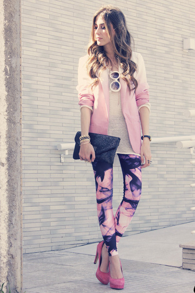bubble gum Lovelysally leggings - pink dip dye romwe blazer