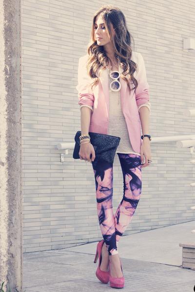 pink dip dye romwe blazer - bubble gum Lovelysally leggings