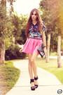 Bubble-gum-living-royal-skirt-black-romwe-top-black-iclothing-heels