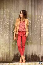 red Amaro shirt - brown Dafiti bag - red Gap pants