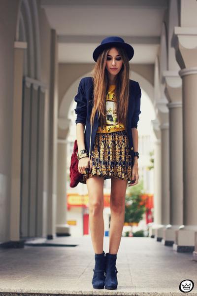 awwdore skirt - romwe hat - Kafé bracelet