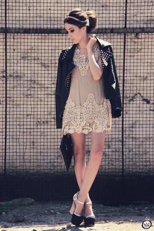 black spikes Choies jacket - beige lace Sheinside dress
