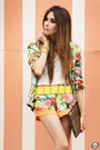 Aquamarine-floral-suit-suit-camel-sequins-romwe-bag