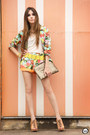 Aquamarine-floral-suit-suit-camel-sequins-romwe-bag