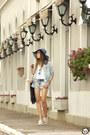 Blue-levis-shirt-blue-degrant-shorts-navy-zerouv-sunglasses