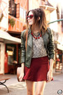 Dark-green-amaro-jacket-silver-top-ruby-red-forever21-skirt