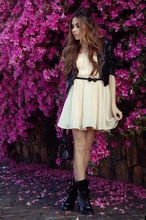 black jacket - peach romwe dress