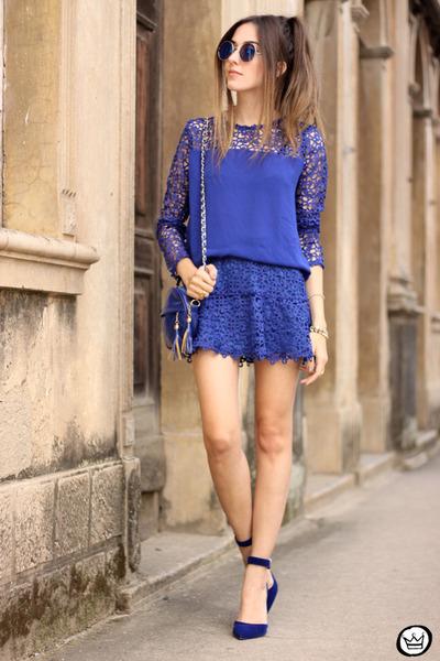 blue Decote top - blue Decote skirt