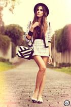 white Arezzo bag - black Arezzo flats - white Cor de Rosa suit