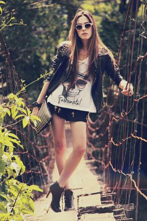 black Choies jacket - black romwe bag - tan Spektre sunglasses