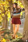 Dark-brown-gap-jumper-ruby-red-forever21-skirt
