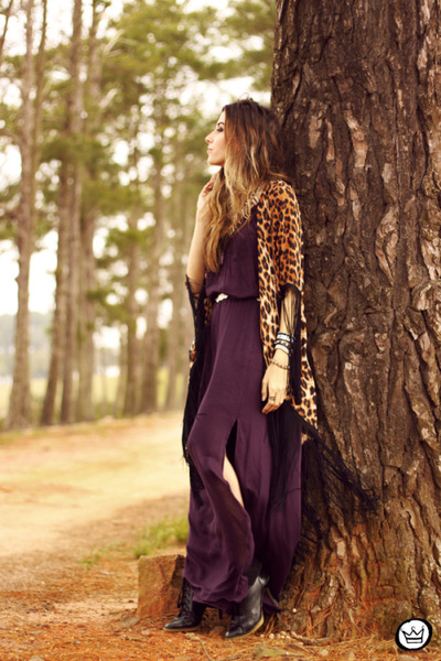 deep purple Shoulder dress