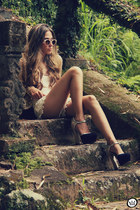 beige lace Chicwish shorts - tan Spektre sunglasses - black asos heels