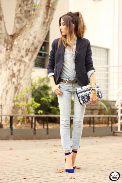 navy Gap blazer - blue Petit Sesame bag - light blue Gap pants