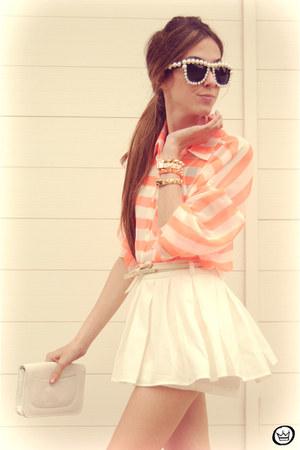 white Clothing Loves skirt - orange romwe shirt - neutral Kafé bracelet
