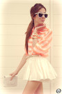 Orange-romwe-shirt-white-clothing-loves-skirt-neutral-kaf-bracelet